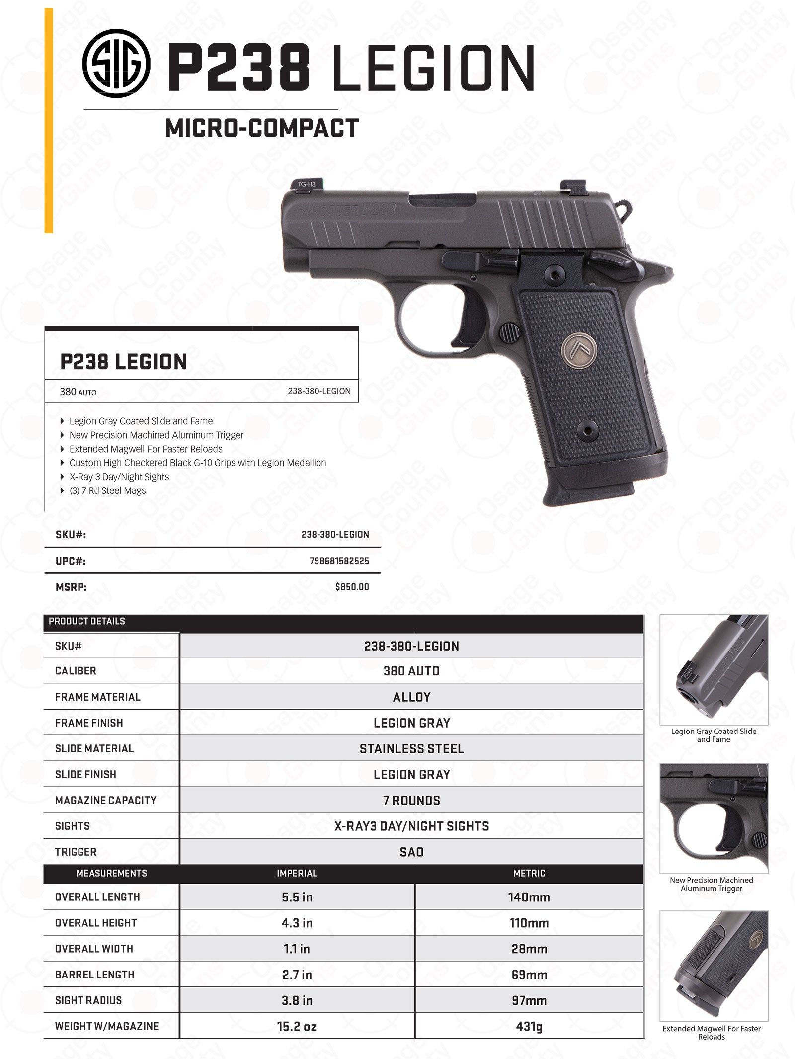 Sig P238 Legion Sell Sheet