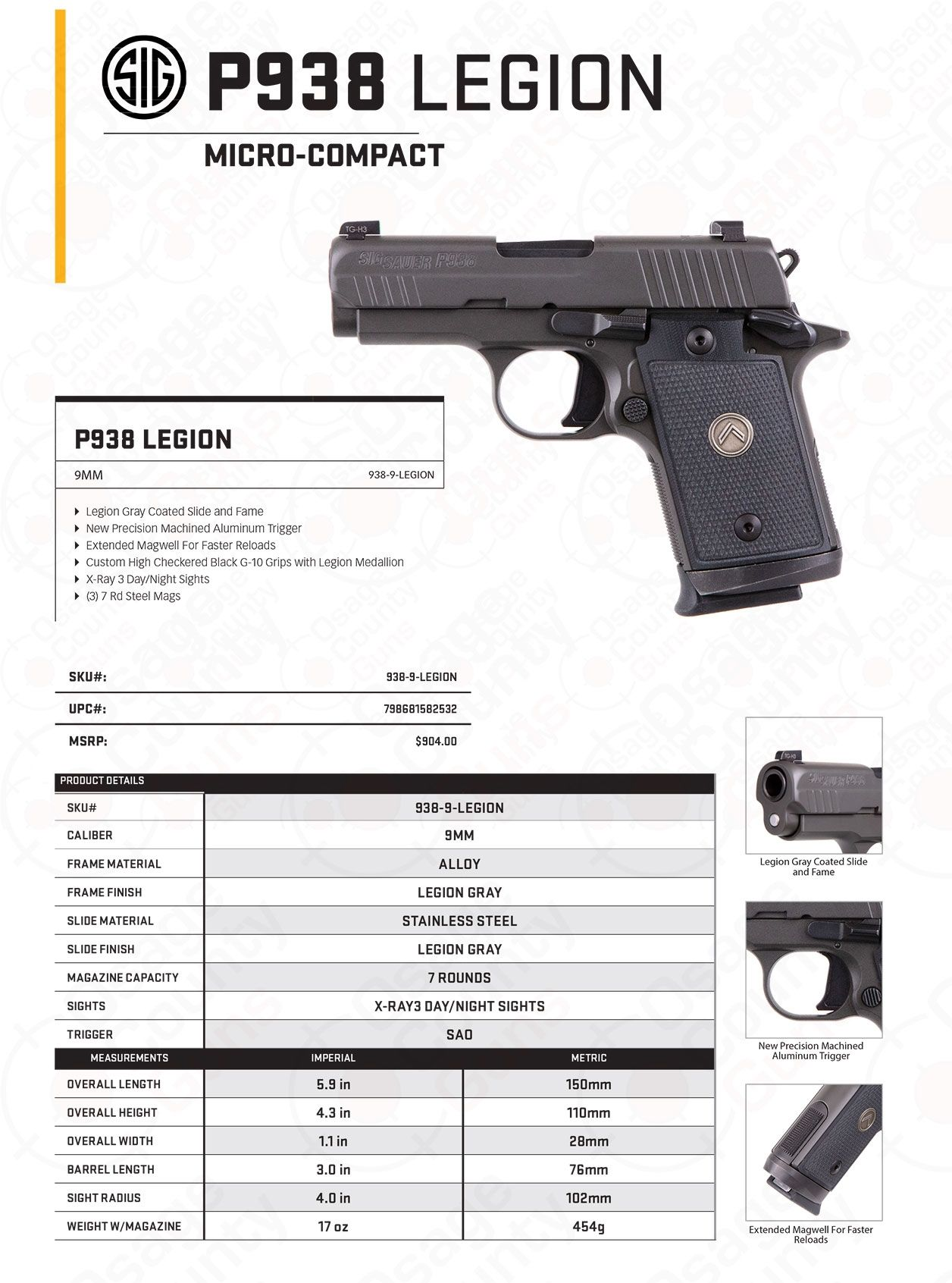 Sig P938 Legion Sell Sheet