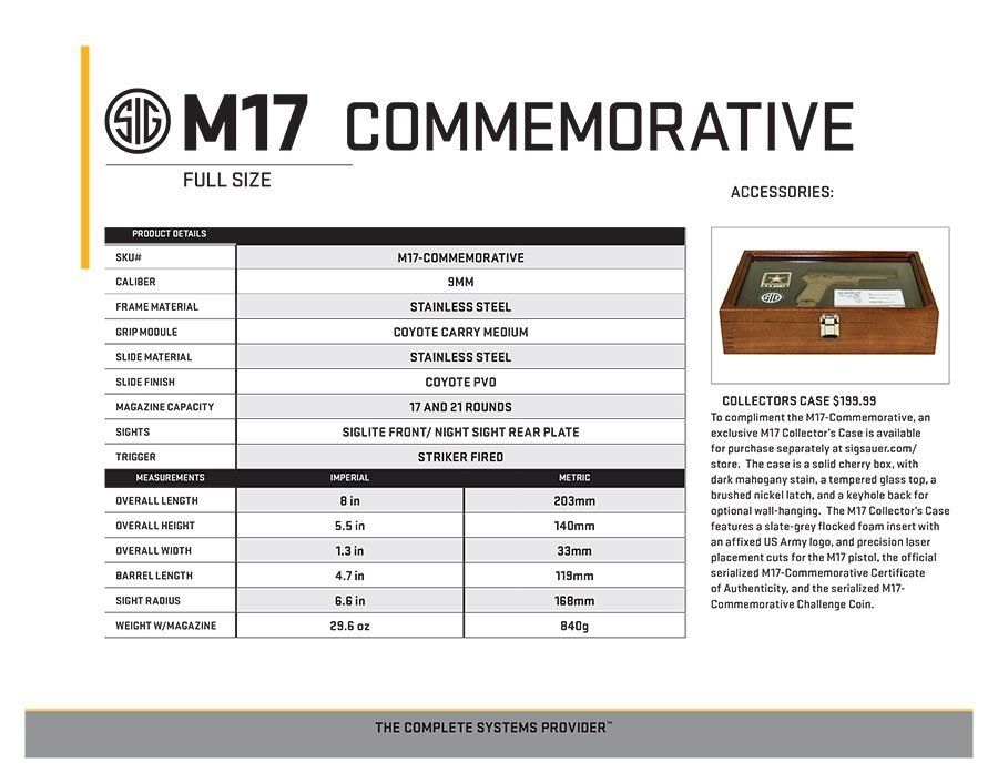 Sig P320 M17 Commemorative Sell Sheet 2